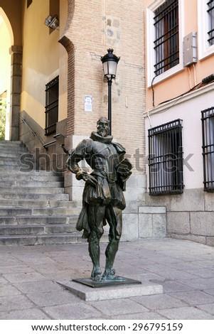TOLEDO, SPAIN - OCTOBER 07, 2013: Monument to the writer Miguel de Cervantes in Toledo - stock photo