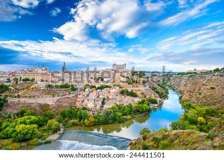 Toledo, Spain old town city skyline. - stock photo