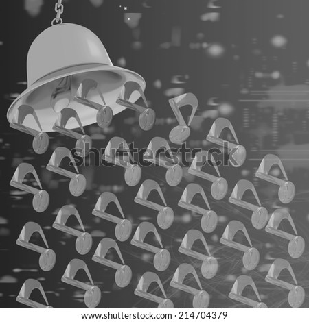 Toll. Gold bell on winter or Christmas style background with a wave of stars - stock photo