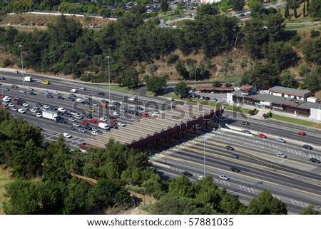 Toll station on a highway - stock photo