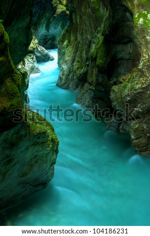 Tolminka alpine river in Slovenia, central europe - stock photo