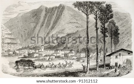 Tolosa old view, Spain. Created by Rouargue, published on L'Illustration, Journal Universel, Paris, 1858 - stock photo
