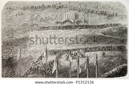 Tolosa railway station inauguration, Spain: beginning of the works ceremony. Created by Rouargue, published on L'Illustration, Journal Universel, Paris, 1858 - stock photo