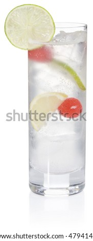 Tom Collins Cocktail - isolated on white