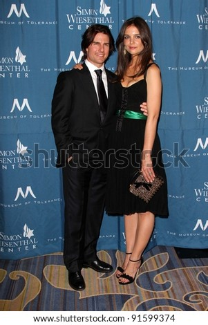 Tom Cruise and Katie Holmes at the Simon Wiesenthal Center Annual National Tribute Dinner Honoring Tom Cruise, Four Seasons Hotel, Beverly Hills, CA 05-05-11 - stock photo