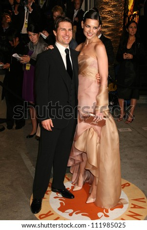 Tom Cruise and Katie Holmes at the 2007 Vanity Fair Oscar Party. Mortons, West Hollywood, CA. 02-25-07 - stock photo