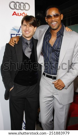 "Tom Cruise and Will Smith attend the AFI Fest Opening Night Gala Premiere of ""Lions for Lambs"" held at the ArcLight Theater in Hollywood, California, United States on November 1, 2007.  - stock photo"