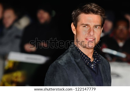 "Tom Cruise arrives for the ""Jack Reacher"" premiere at the Odeon Leicester Square, London. 10/12/2012 Picture by: Steve Vas - stock photo"