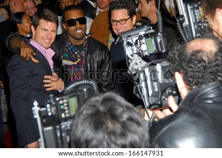 Tom Cruise, Kanye West, wearing a Louis Vuitton scarf, at MISSION IMPOSSIBLE III Premiere, The Ziegfeld Theatre, New York, NY, May 03, 2006 - stock photo