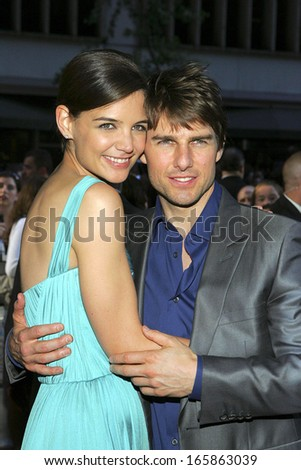 Tom Cruise, Katie Holmes, wearing a Dior dress, at US Premiere of WAR OF THE WORLDS, The Ziegfeld Theatre, New York, NY, June 23, 2005