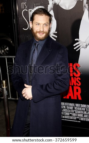 """Tom Hardy at the Los Angles Premiere of """"This Means War"""" held at the Grauman's Chinese Theater, California, United States on February 8, 2012.   - stock photo"""