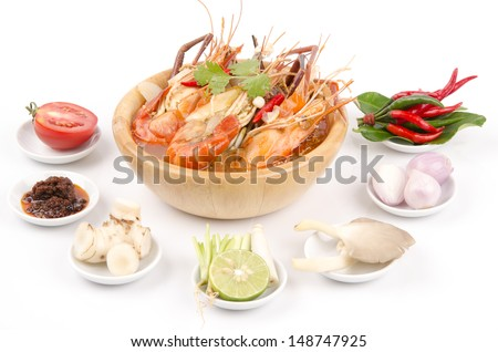 Tom Yam Kung, Thai hot and spicy soup with shrimp and Thailand popular ...