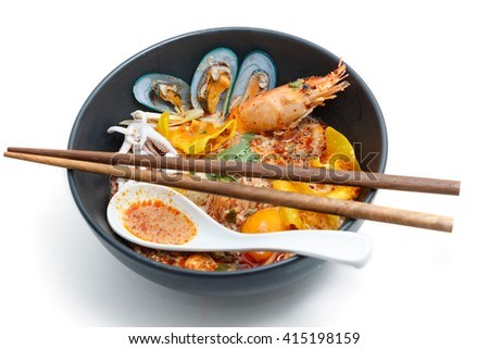 Tom Yum Kung Noodle, popular Thai dish cuisine - stock photo