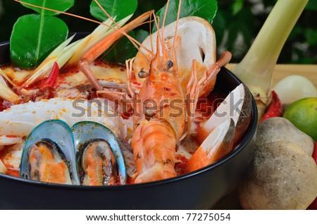 Tom Yum Kung Thai Cuisine. - stock photo