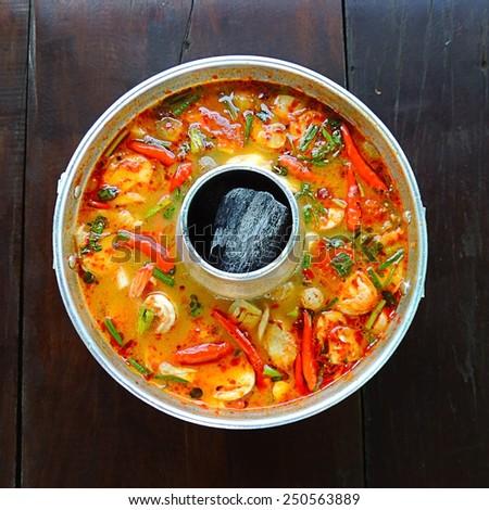 Tom Yum Shrimp hot pot - stock photo