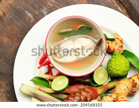 Tom Yum soup Thai spicy soup with  ingredients