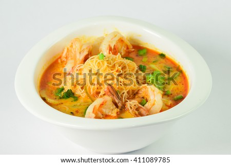 Tom Yum soup Thai traditional spicy prawn with noodle - stock photo
