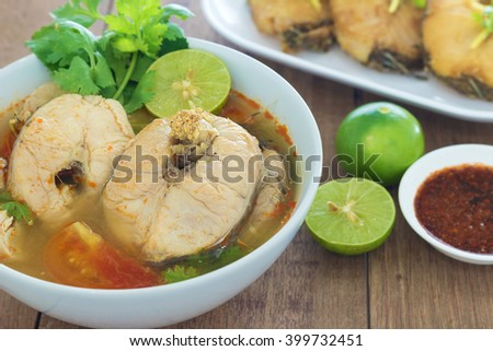 Tom Yum striped snakehead fish,Thai Food