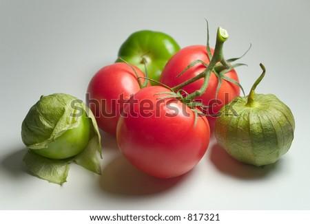 Tomatillos and Tomatoes - stock photo