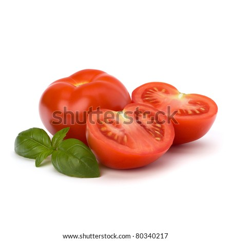 Tomato and basil leaf isolated on white background - stock photo