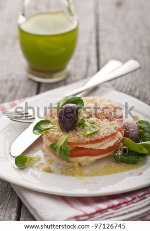 Tomato and goat cheese salad with baby spinach and green herb oil - stock photo