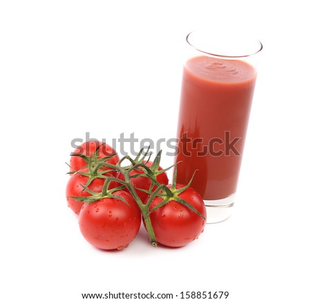 Tomato and juice. Isolated on a white background