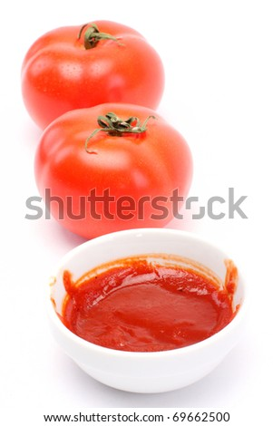 Tomato and ketchup isolated background - stock photo