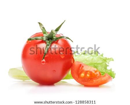 Tomato and lettuce isolated on white background - stock photo