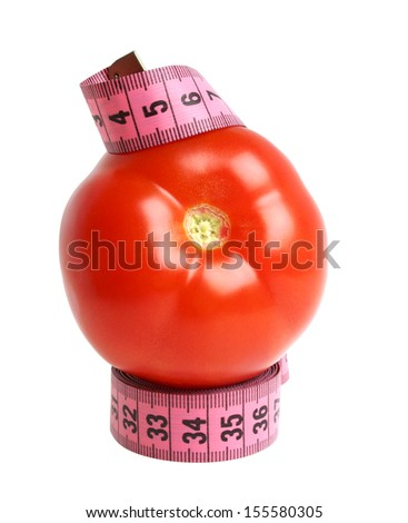 Tomato and measuring tape on a white background