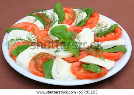 tomato and mozzarella slices in a plate of caprese salad