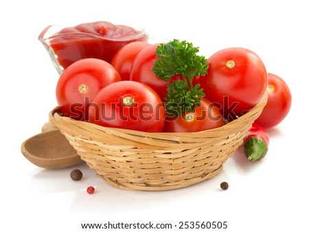 tomato and sauce isolated on white background - stock photo