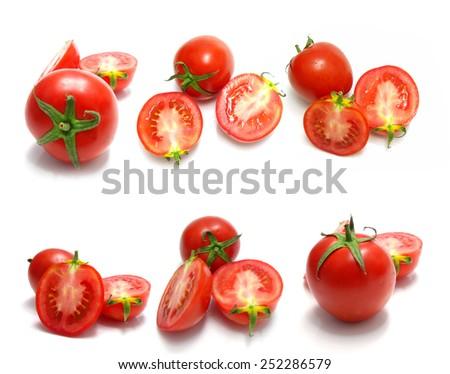 tomato and slices of tomato on white background - stock photo