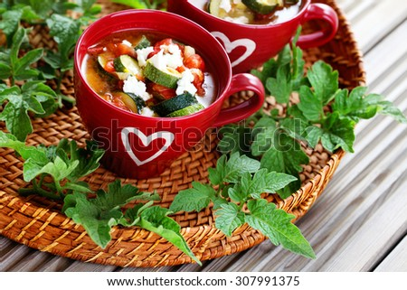 tomato and zucchini soup - food and drink - stock photo