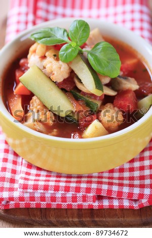 Tomato-based soup with vegetables
