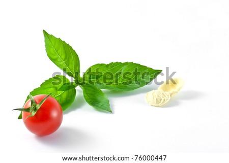 tomato,basil and pasta - stock photo