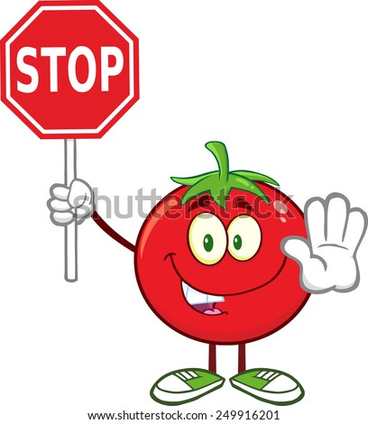 Tomato Cartoon Mascot Character Gesturing And Holding A Stop Sign. Raster Illustration Isolated On White - stock photo