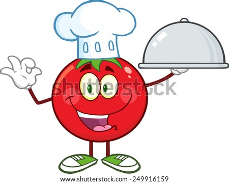 Tomato Chef Cartoon Mascot Character Holding A Cloche Platter.  Raster Illustration Isolated On White - stock photo