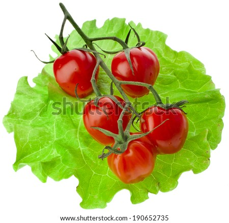 Tomato cherries in the lettuce leaves and tomato isolated on white background - stock photo