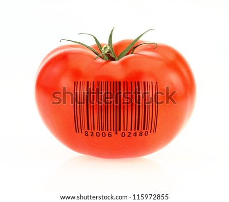 Tomato coded to represent product identification - stock photo