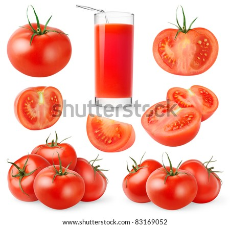 Tomato collection isolated on white - stock photo