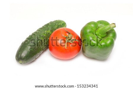 tomato, cucumber, green pepper on a white background