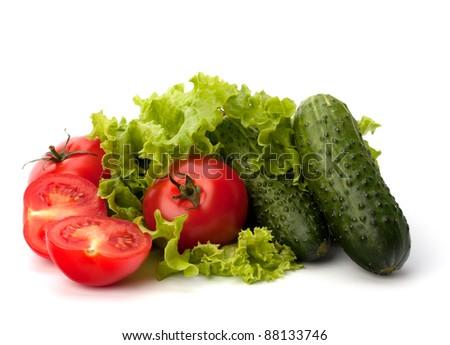 Tomato, cucumber vegetable and lettuce salad isolated on white background - stock photo