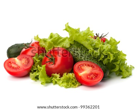 Tomato, cucumber vegetable and lettuce salad isolated on white background - stock photo