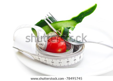 tomato,fork ,cucumber skin and measure tape on a plate isolated on white