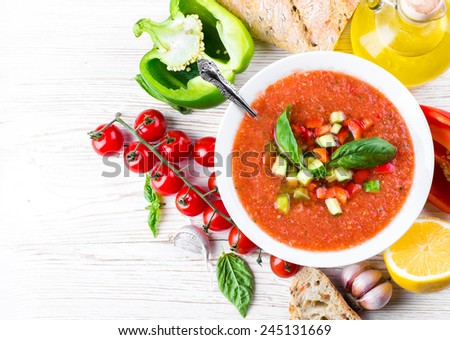 Tomato gazpacho soup with pepper and garlic, Spanish cuisine - stock photo
