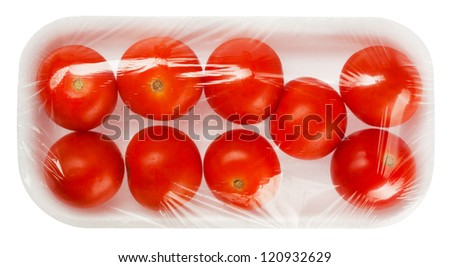 tomato in vacuum packing isolated on white background - stock photo