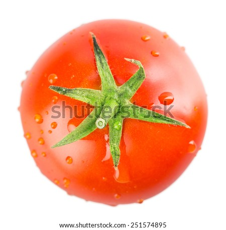 tomato Isolated on white background, shallow depth of field - stock photo
