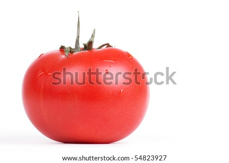 Tomato isolated on white, closed-up
