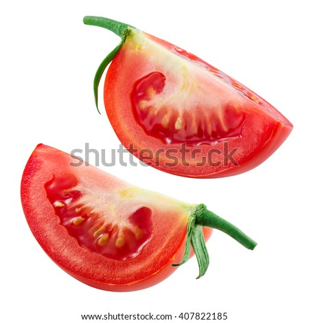 Tomato isolated on white. collection. With clipping path. - stock photo