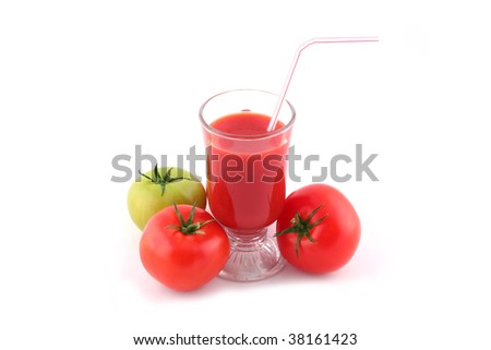 Tomato Juice and fresh tomatoes isolated on white.
